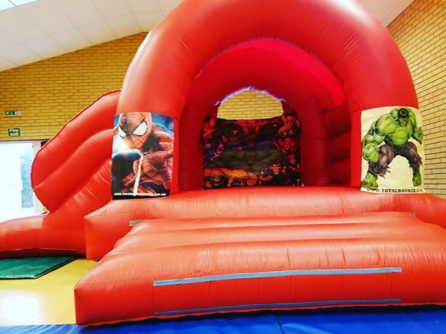 Spider man and Hulk and super heroes Bouncy Castle Hire